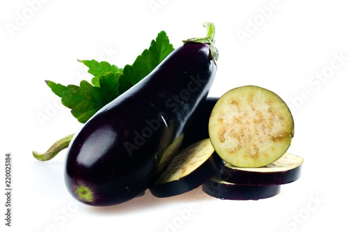Whole Eggplant and Slices
