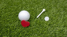 Golf Ball And Love And Tee And...