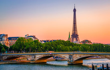 Sunset View Of  Eiffel Tower A...