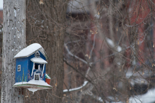 Fotografia Snowflakes falling over a blue birdhouse that has snow on the roof