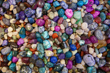 Colorful Mineral Stones Collection. Background Of Semiprecious Polished Stones