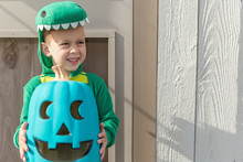Halloween Boy With Teal Pumpki...