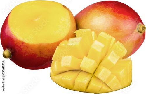 Sliced and cubed fresh mango