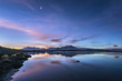The great views of Lauca National Park landscapes with its amazing reflections over the Cotacotani Lagoons during a crescent moon cycle, Arica, Chile