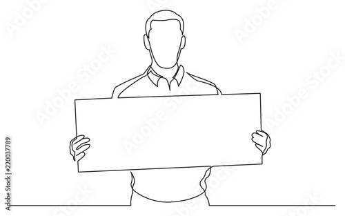 Continuous Line Drawing Of Man Holding Blank Banner Buy This Stock Vector And Explore Similar Vectors At Adobe Stock Adobe Stock