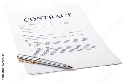 Cuadros en Lienzo Ballpoint pen on top of a contract