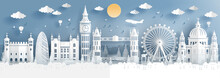Panorama Of Top World Famous Landmark Of London, England For Travel Poster And Postcard, In Paper Cut Style Vector Illustration.