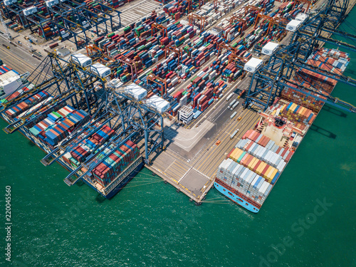 Tuinposter Poort Aerial view of Kwai Tsing Container Terminals in Hong Kong