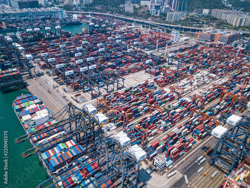 Spoed Foto op Canvas Poort Kwai Tsing Container Terminals in Hong Kong
