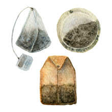 Tea Bag Painted With Watercolor Isolated On White Background.