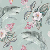 Fototapeta Łazienka - Seamless hand illustrated floral pattern with pink Medinilla Magnifica and sharks