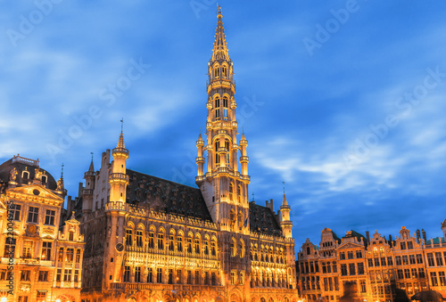 Foto op Canvas Brussel Brussels , Grand place in summer twilight ,Belgium