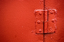 Hinge Painted In Red Is Close