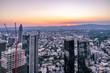 Leinwanddruck Bild Aerial of the financial district in Frankfurt, Germany - Europe