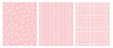 Hand Drawn Abstract Irregular Vector Patterns. White And Pink Infantile Design. Stripes, Grid And Snow Flakes. Pink Background.