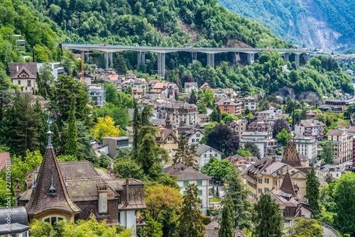 Cuadros en Lienzo Switzerland, Montreux lake Leman cityscapes