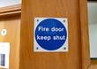 canvas print picture - Blue Fire Door Sign