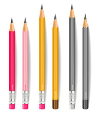 Pencils Vector Realistic. Writting Or Drawing Tools Isolated On White Background. 3d Detailed Illustrations