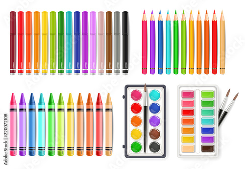 Cuadros en Lienzo Colorful pen, marker and watercolor palette tools set Vector realistics