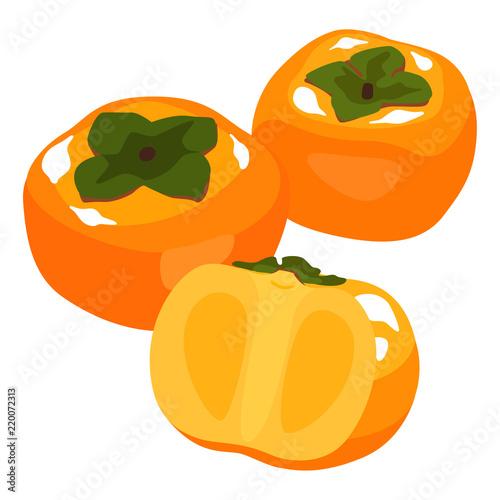 秋が旬の果物複数の柿のイラスト Buy This Stock Vector And Explore