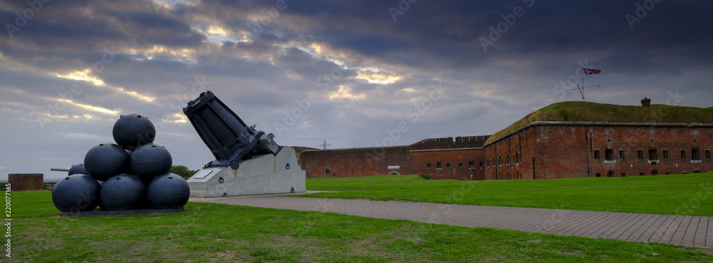 Fototapety, obrazy: Panorama of Mallets Mortar in the front of Fort Nelson - a Royal Armouries museum - near Portsmouth, Hampshire, UK