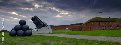Photo  Panorama of Mallets Mortar in the front of Fort Nelson - a Royal Armouries museu