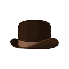 Elegant Brown Bowler Hat. Vintage Male Headwear. Stylish Men Accessory. Isolated Flat Vector Icon