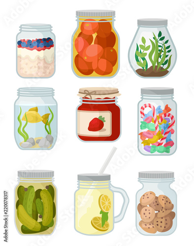Fotografija Flat vector set of jars with different objects