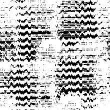 Seamless Pattern Glitch Design. Monochrome Print With Wavy Elements. Watercolor Effect. Suitable For Bed Linen, Leggings, Shorts And Fashion Industry.