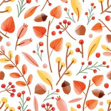 Autumn Seamless Pattern With Acorns, Nuts, Cape Gooseberries, Viburnum Berries On White Background. Seasonal Vector Illustration In Modern Flat Style For Wrapping Paper, Wallpaper, Fabric Print.