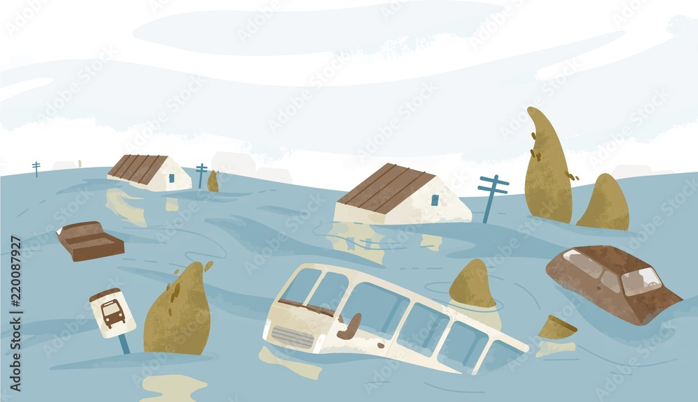 Fototapeta Flooded city or town. Houses, cars, trees, road signs submerged. Buildings and automobiles covered with water. Natural disaster, weather hazard. Colorful vector illustration in flat cartoon style.