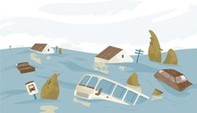 Flooded City Or Town. Houses, Cars, Trees, Road Signs Submerged. Buildings And Automobiles Covered With Water. Natural Disaster, Weather Hazard. Colorful Vector Illustration In Flat Cartoon Style.