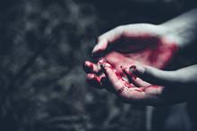 Close Up Of Bloody Hands In Da...
