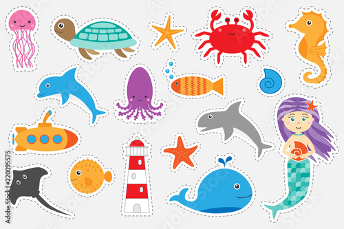 Different colorful pictures of ocean animals for children, fun education game fo Canvas Print