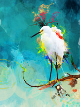 Beautiful White Bird With Teal Background Painted