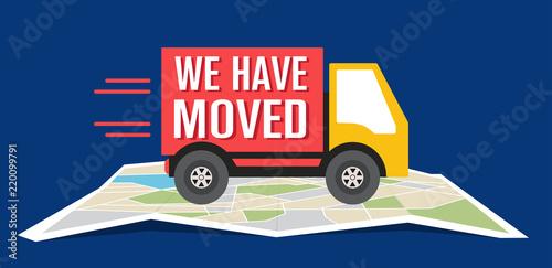 Fotografía  We have moved, changed address navigation, flat illustration vector