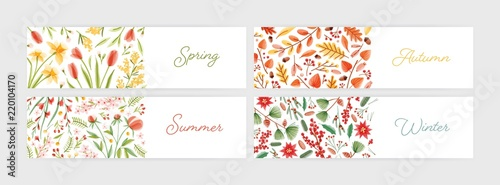 Collection Of Seasonal Horizontal Banner Templates With Season