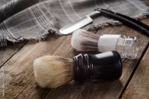 Brushes on wooden surface Wallpaper Mural