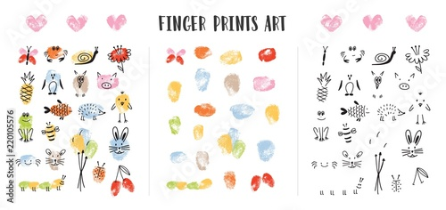Collection of colorful fingerprints decorated by adorable animal s faces isolated on white background. Bundle of art design elements for children. Childish colorful hand drawn vector illustration.