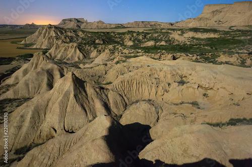 cliffs at desert landscape of Navarra in night