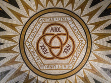 """Mosaic In The Abbey Of Dormition (Church Of The Cenacle), Saying """"One And Only Trinity"""" On Mount Zion, Jerusalem, Israel."""