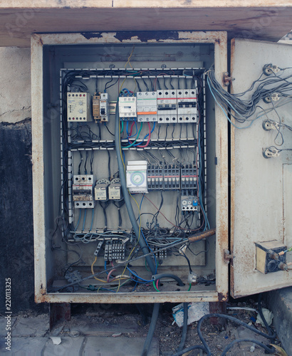 an old open electrical control panel box buy this stock photo andan old open electrical control panel box