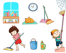 Happy Kids Cleaning The House Vector.