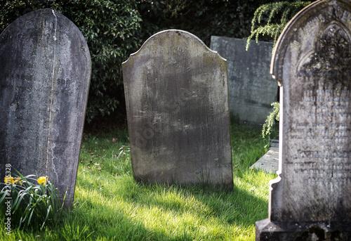 Photo Blank gravestone in graveyard