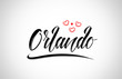 orlando city design typography with red heart icon logo