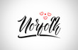 norfolk city design typography with red heart icon logo