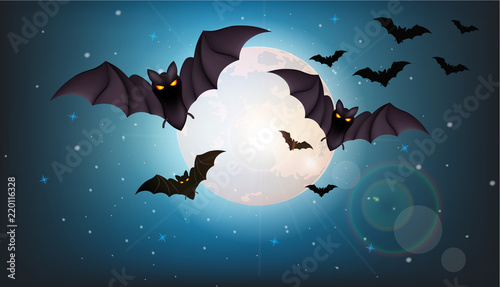 Valokuva Bats flying at night Vector. Full moon. Halloween concepts