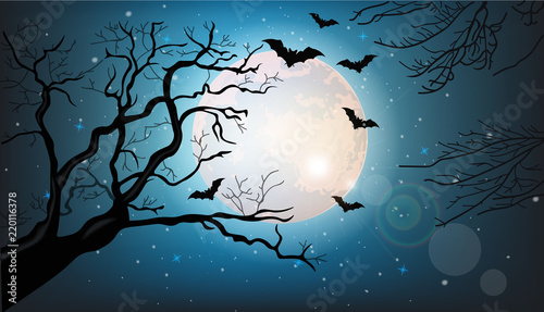 Canvas Print Tree branches silhouette and bats flying at night Vector