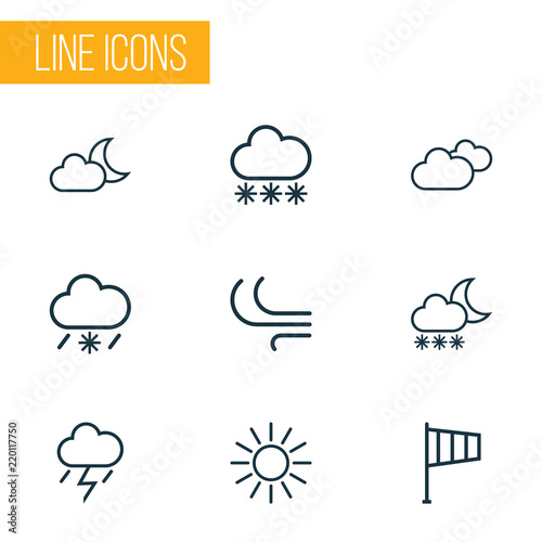 Fototapeta Air icons line style set with moonshine, cold weather, sunshine and other breeze  elements. Isolated vector illustration air icons. obraz na płótnie