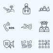 Traveling icons line style set with baggage transfer, cancellation insurance, lounge and other plane chair elements. Isolated vector illustration traveling icons.